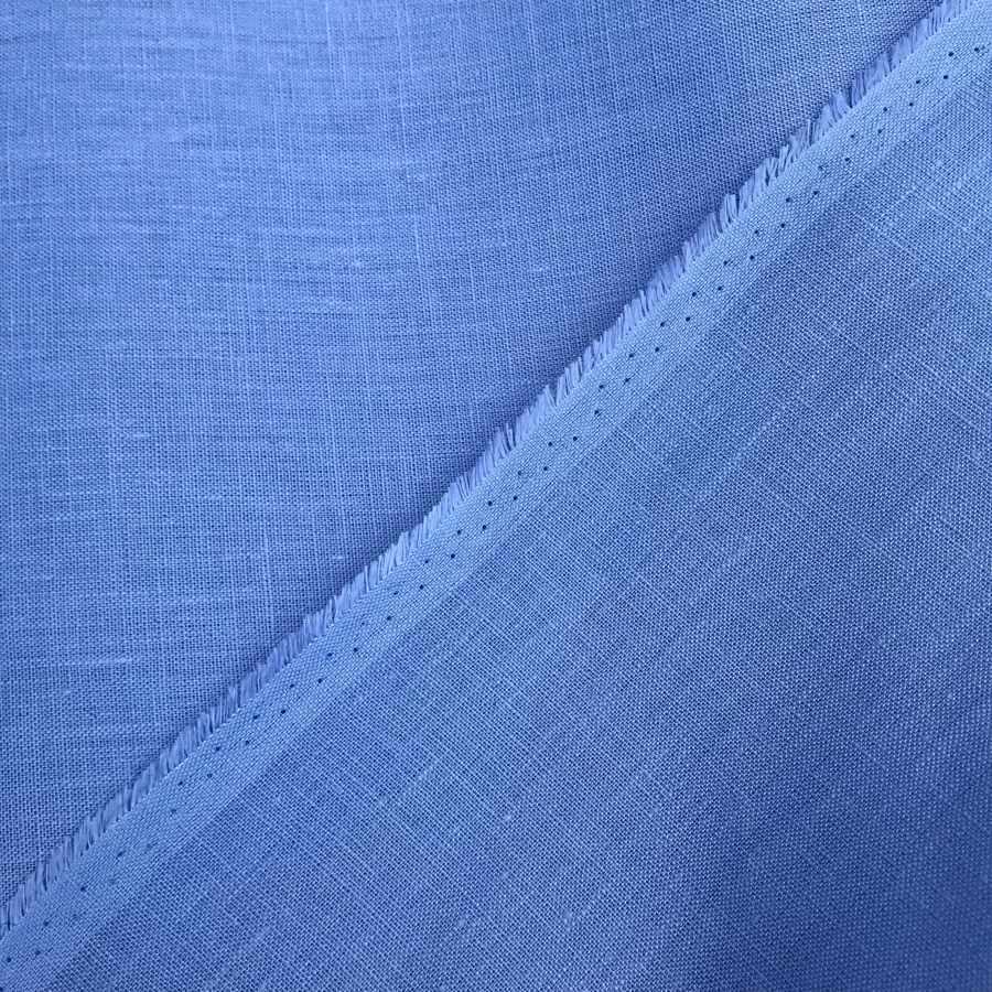 100% Льняная ткань Голубая 2