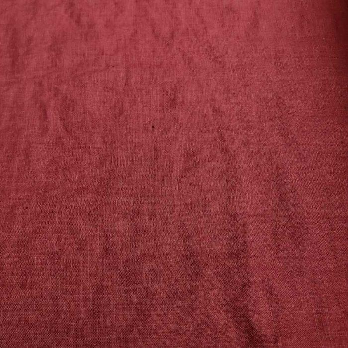 100% Льняная ткань для одежды умягченная Темно-Розовая 2