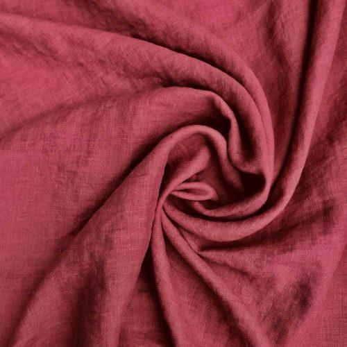 100% Льняная ткань для одежды умягченная Темно-Розовая