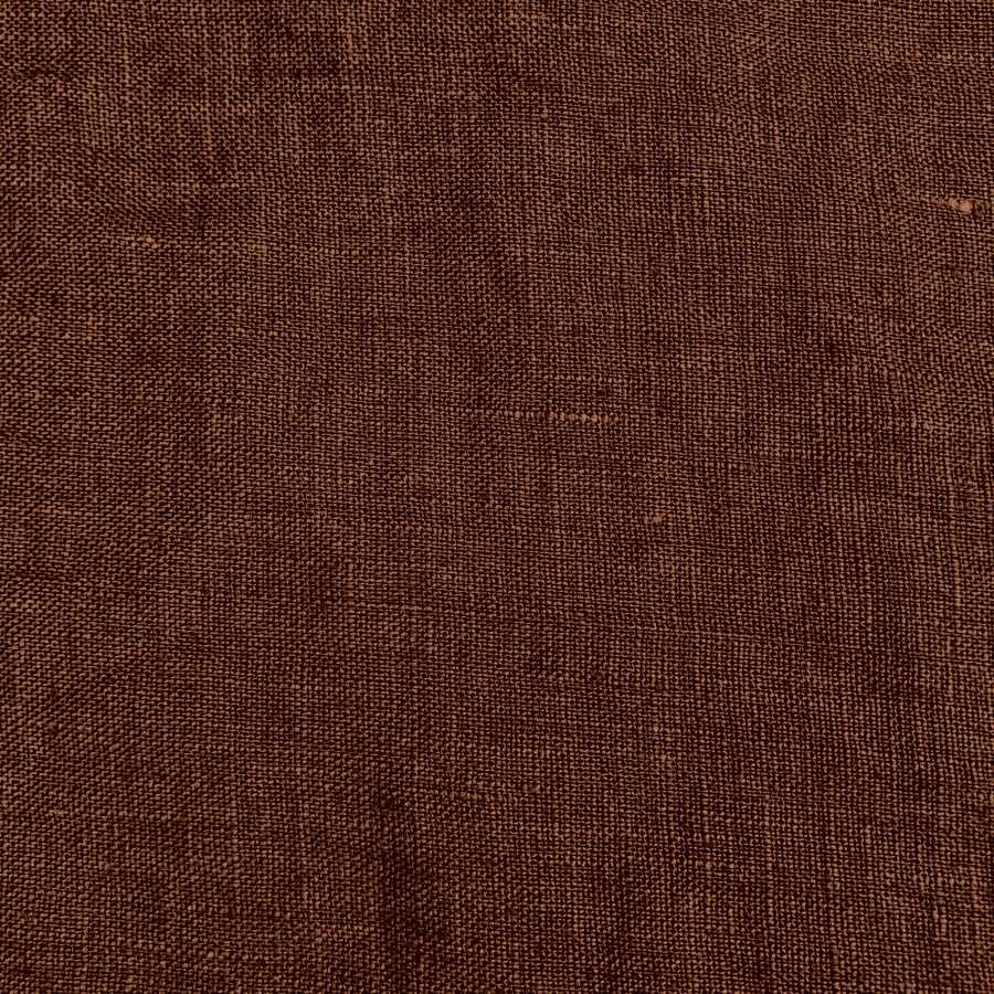 100% Льняная ткань для одежды умягченная Тепло-Коричневая 1