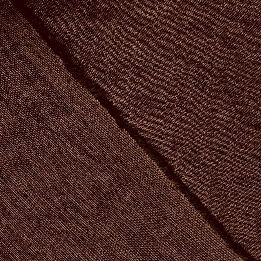 100% Льняная ткань для одежды умягченная Тепло-Коричневая 2