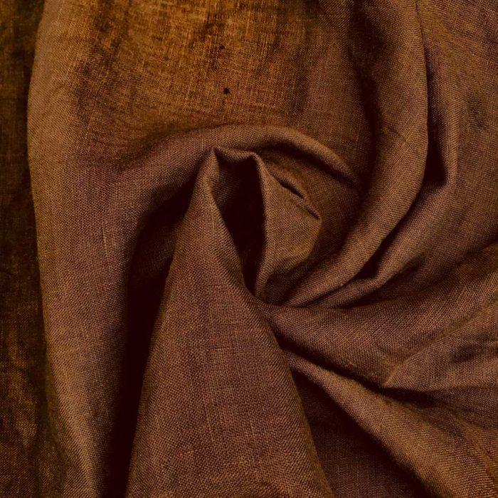 100% Льняная ткань для одежды умягченная Тепло-Коричневая
