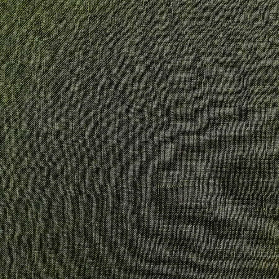 100% Льняная ткань для одежды умягченная Темно-Оливковая 1