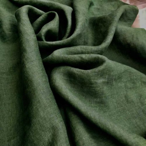 100% Льняная ткань для одежды умягченная Темно-Оливковая