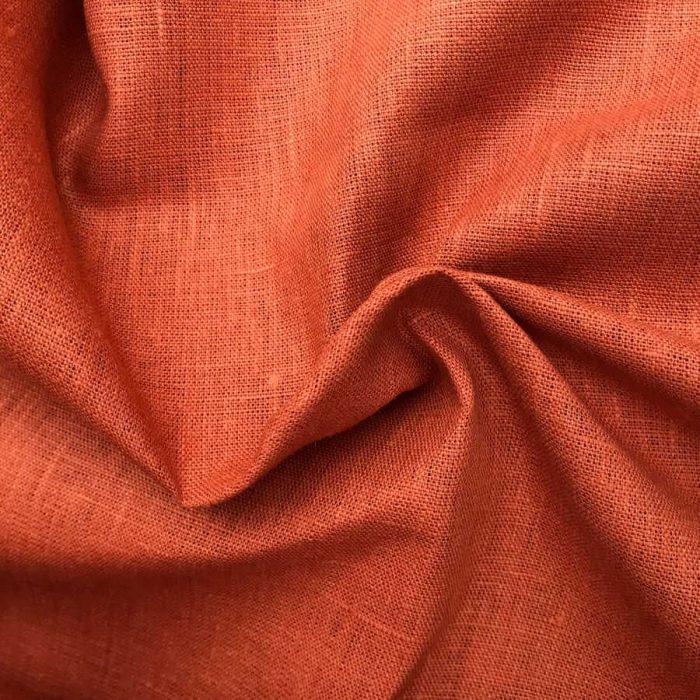 100% Льняная ткань скатертная Оранжевая