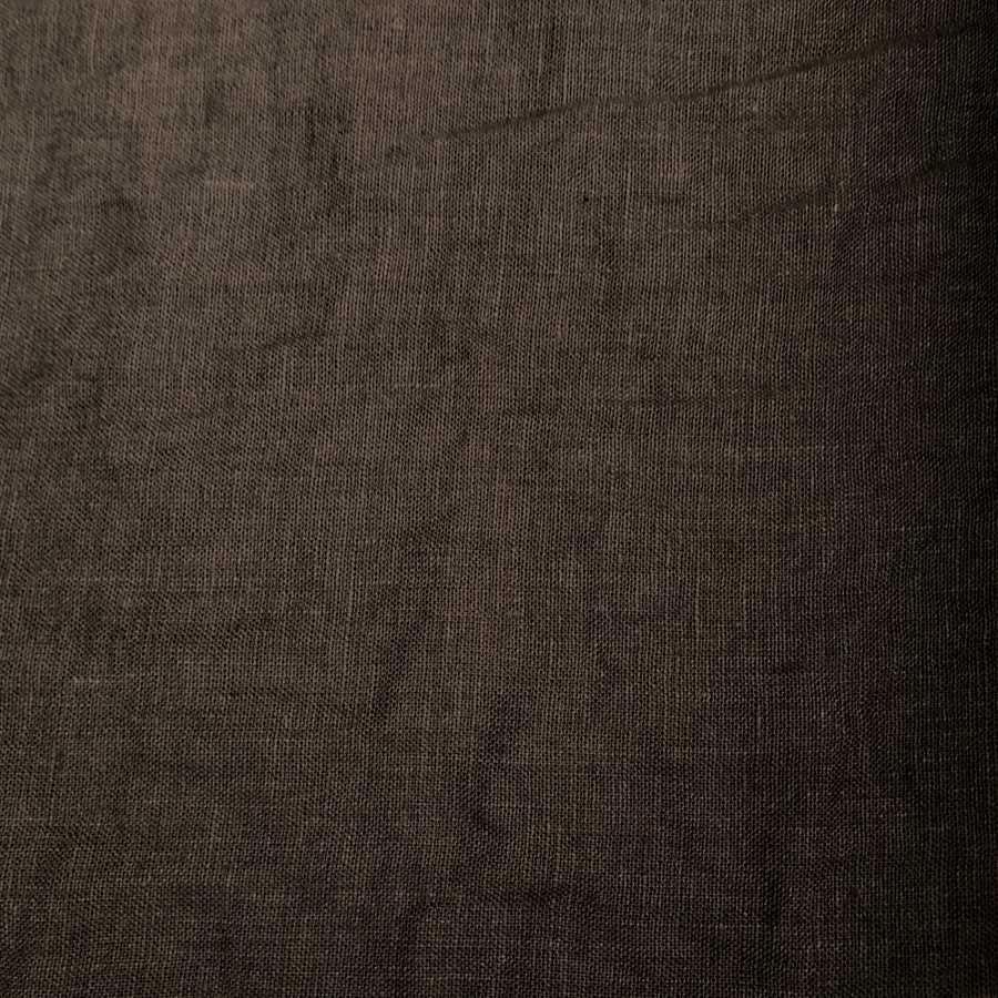 100% Льняная ткань умягченная для одежды Коричневая 1