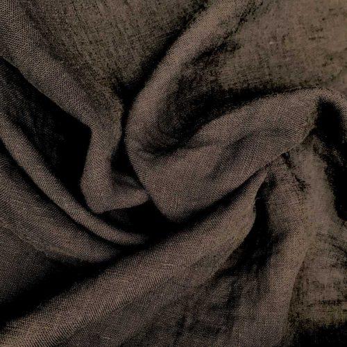 100% Льняная ткань умягченная для одежды Коричневая