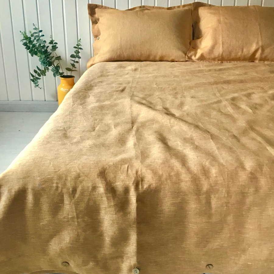100% Льняной постельный комплект Охра2