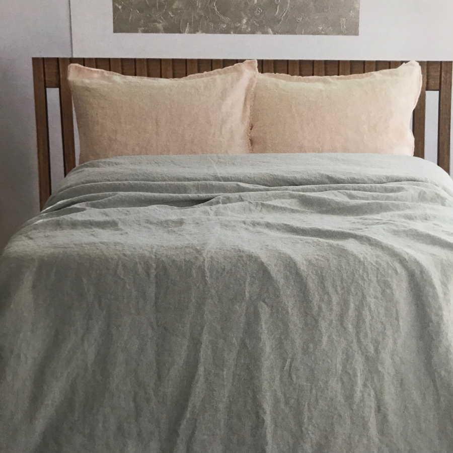 100% Льняной постельный комплект умягченный Желтый Туман