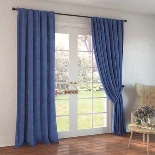 100% Льняные шторы - декоративный Голубой
