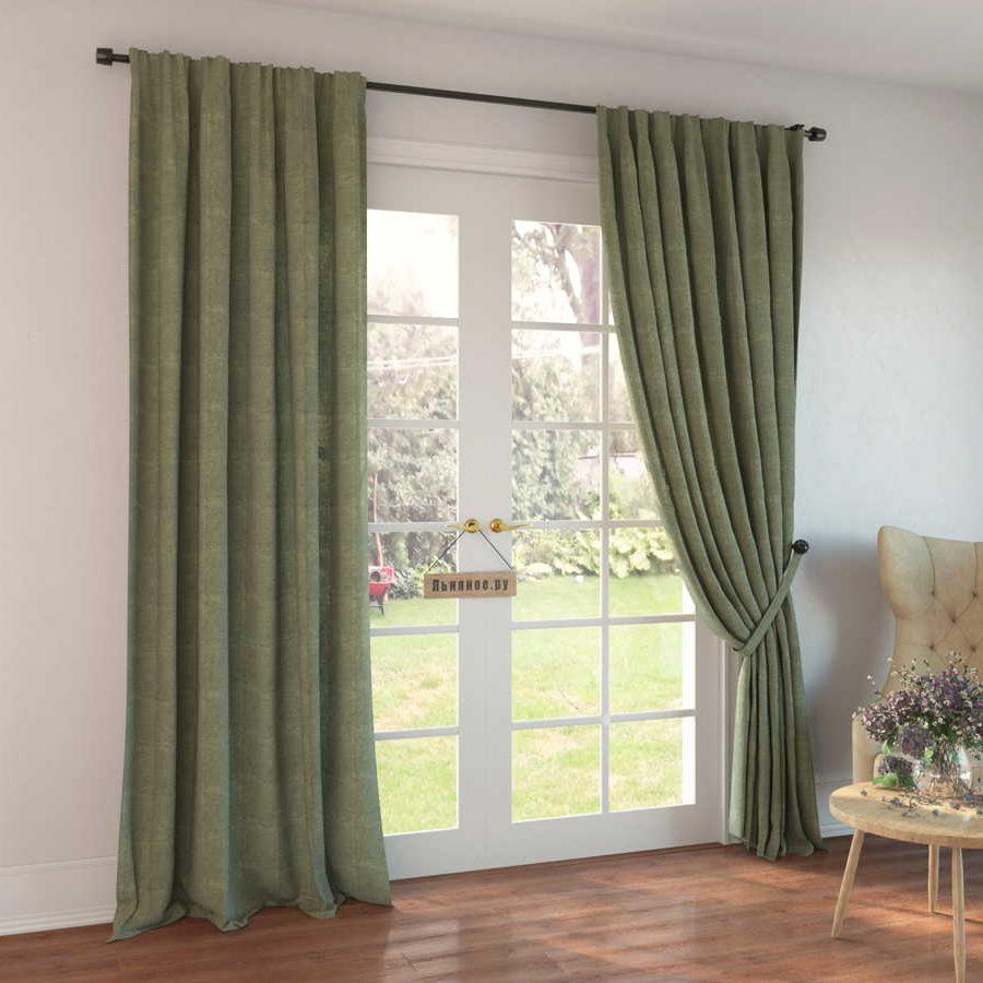 100% Льняные шторы - декоративный Оливковый