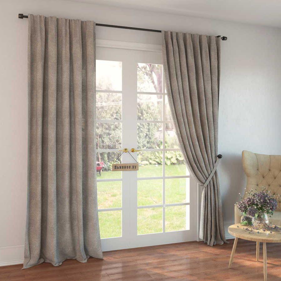 100% Льняные шторы - декоративный Серый