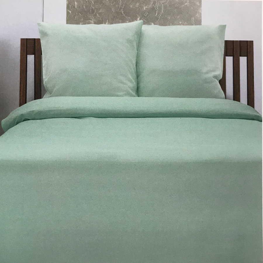 Льняной постельный комплект Ментол