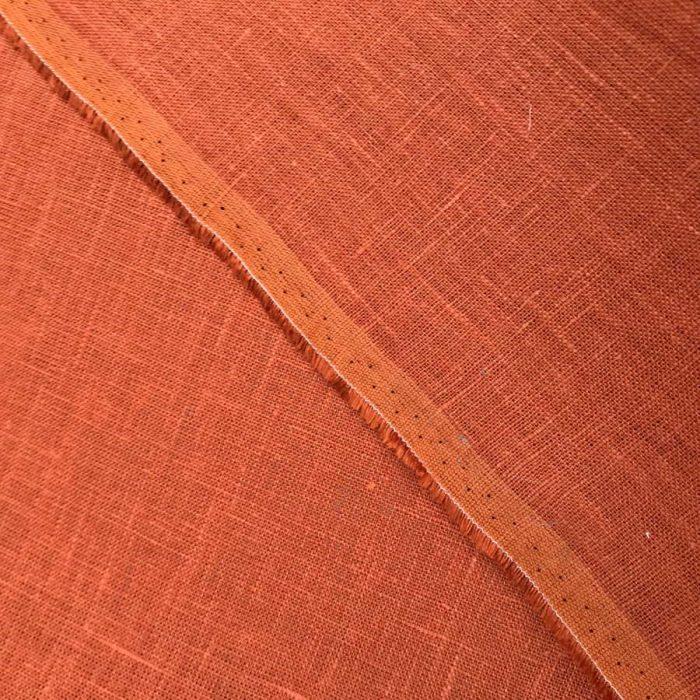 Скатертная ткань Оранжевая - 100% лен