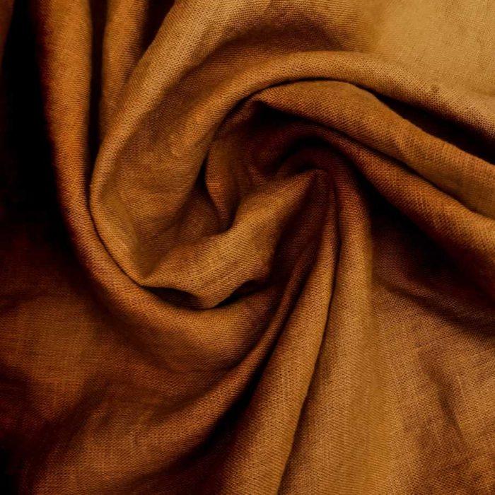 Ткань для одежды льняная умягченная Рыжая