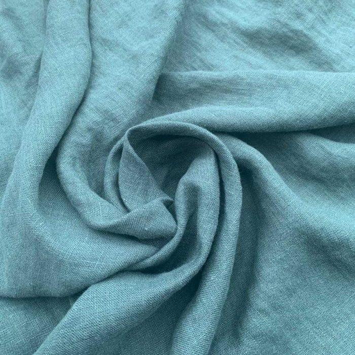 100% Льняная ткань для одежды умягченная Голубая