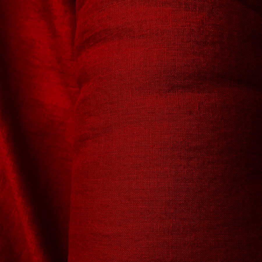 100% Льняная тканя для одежды умягченная Гранат3