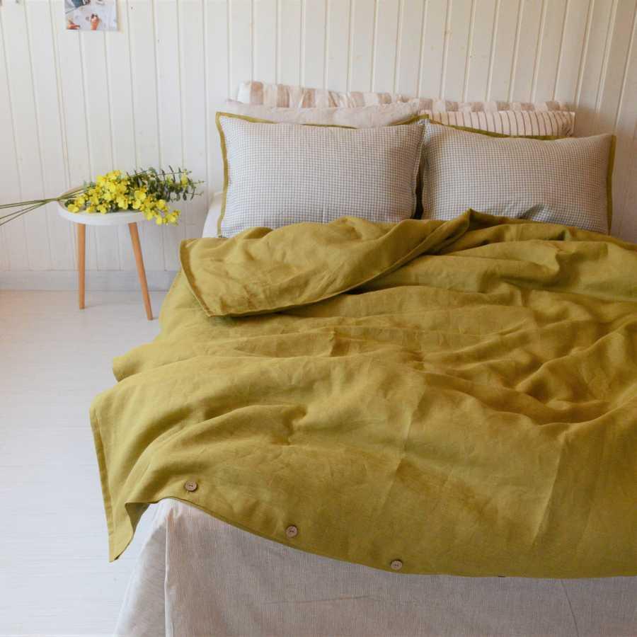 Комплект постельного белья из льна Горчичный