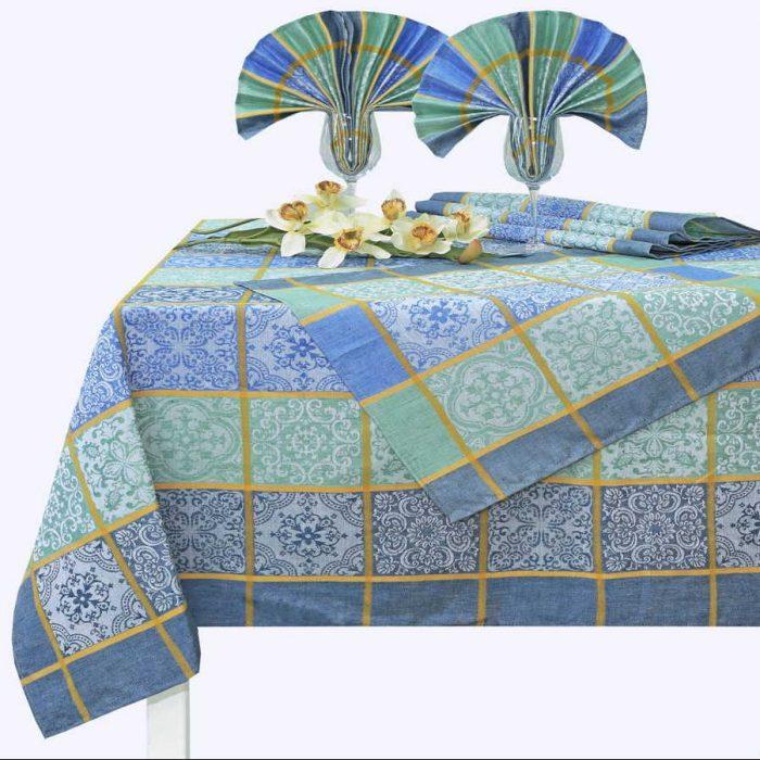 Скатерть и салфетки из льна - Льняной столовый набор Изразцы