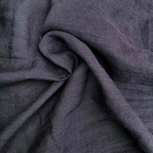 100% Льняная ткань умягченная для одежды Темно-Серая
