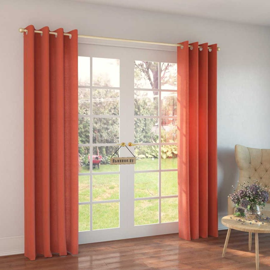 100% Льняные шторы Оранжевые