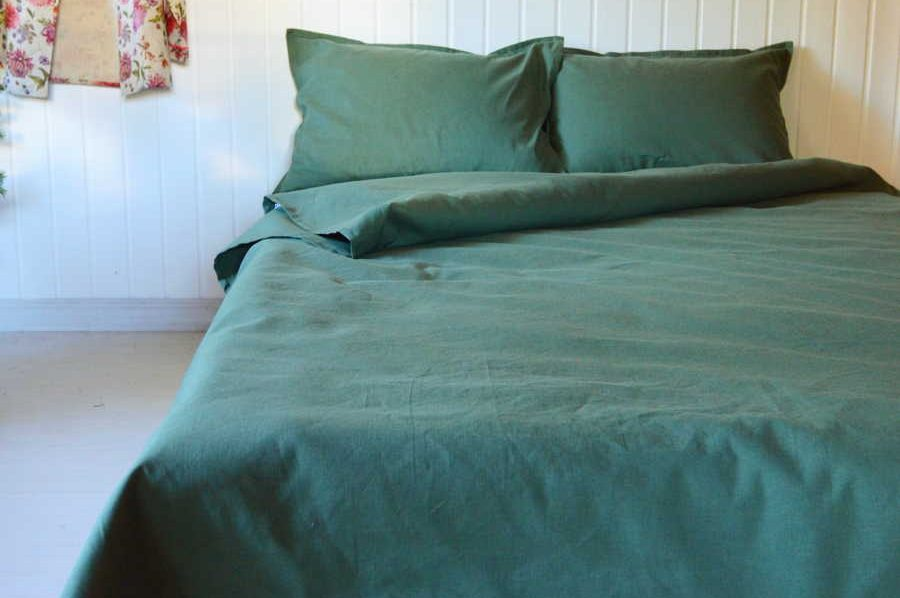 Комплект постельного белья из 100% льна Темно-Оливковый 2