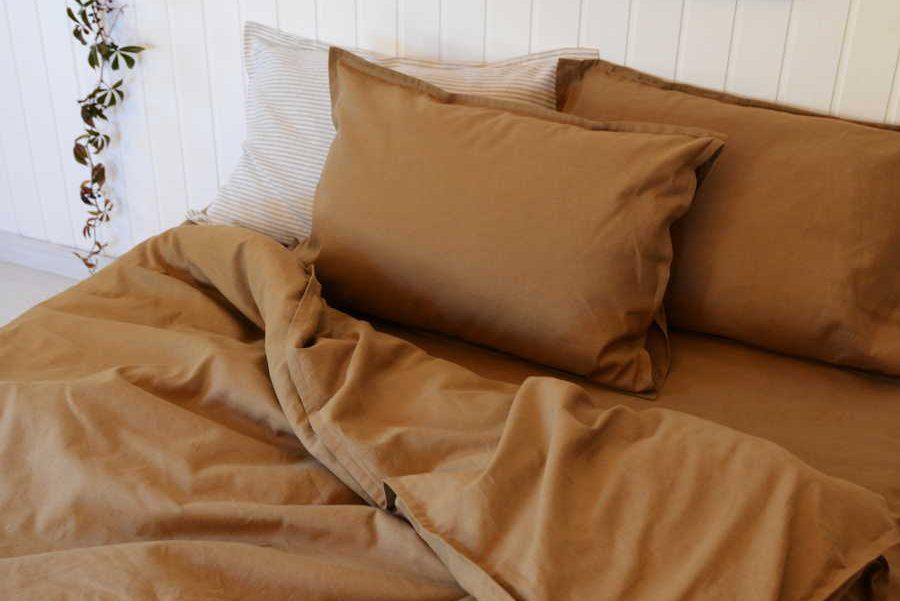 Комплект постельного белья изо льна Табак