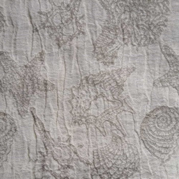 Льняное банное полотенце бежевое Ракушки