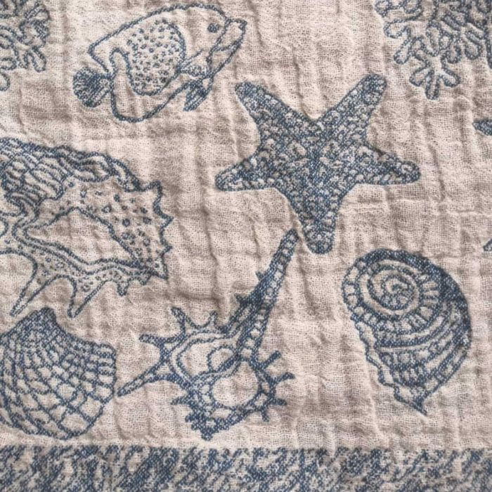 Льняное банное полотенце голубое Ракушки