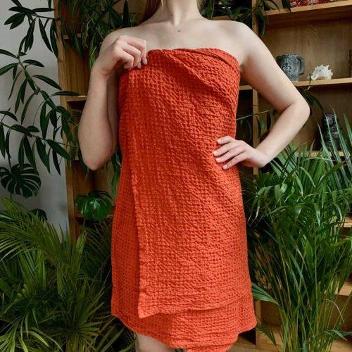 Полотенце банное из льна Зефир - Красный апельсин