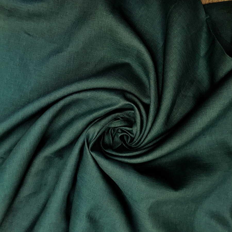 100% Льняная ткань Изумруд