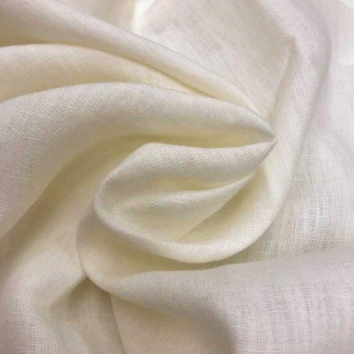 100% Льняная умягченная ткань Молочная