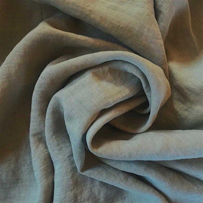 100% Льняная умягченная ткань Теплый серый