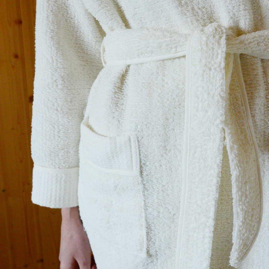 Халат из льна махровый женский Белый