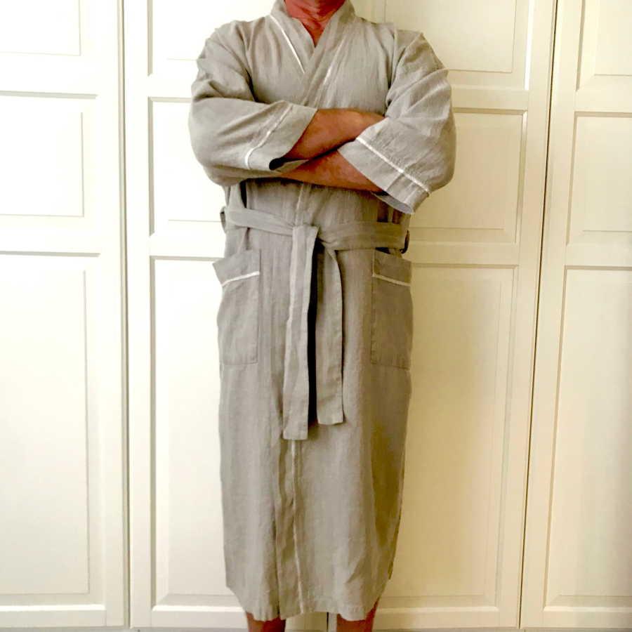 Мужской халат из 100% льна Натурального цвета