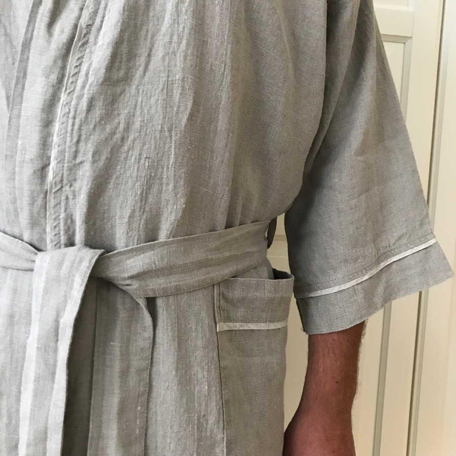 Мужской халат из льна Натурального цвета