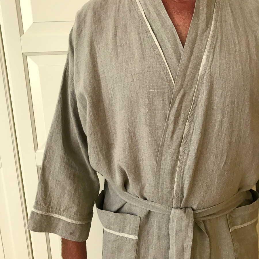 Мужской халат изо льна Натурального цвета