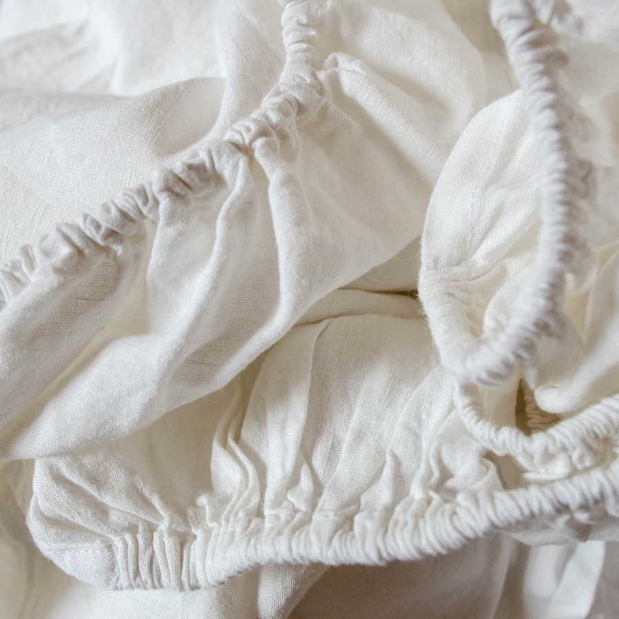 Льняная простыня на резинке умягченная - Белая
