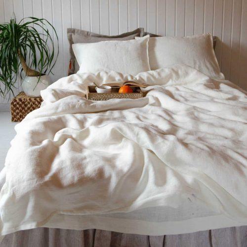 Постельное белье из умягченного 100% льна - комплект Белый